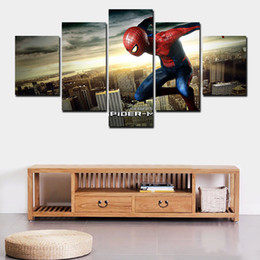2016 New 5 Pcs No Framed High-Quality Modern On Canvas Spider Man Painting Wall Hanging Living Room Decoration Pictures Set
