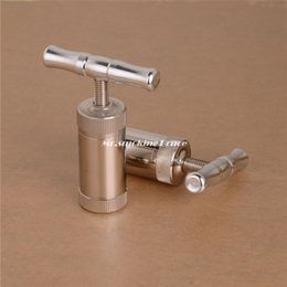 Wholesale T Press Tool Engineered Brass Cylinder Heavy Duty Metal T Shape Spice Pollen Tincture Crusher Silver Color