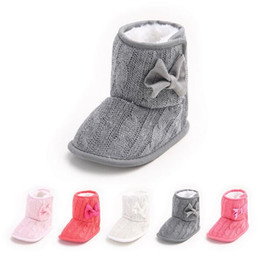 Soft Sole Baby Booties Shoes Knitted Bow Infant Baby Ankle Boots Newborn First Walker Shoes Boys Girls Crochet Moccasins Toddlers for Winter