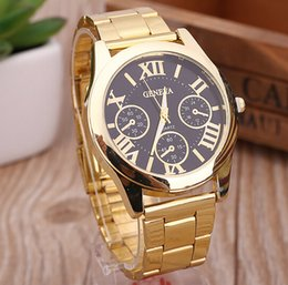 Wholesale 2016 luxury mens geneva stainless steel Watches metal alloy watch fashion casual roma design dial quartz dress sport Gold watches