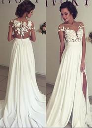 2017 Summer Beach Chiffon Wedding Dresses Lace Top Short Sleeves Illusion Neckline Side Slit Garden Elegant Bridal Gowns
