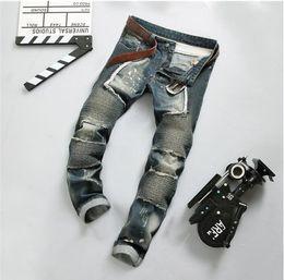 European American Style fashion brand cotton men jeans luxury Men's casual denim trousers zipper Slim blue stripes jeans for men