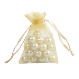 100 Pcs Golden Organza Jewelry Gift Pouch Bags 7x9cm (2.7X 3.5 inch) Drawstring Bag Organza Gift Candy Bags DIY Gift Bags