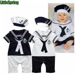 baby boy romper sailor navy style toddler costume cotton short sleeve Babies One-Piece Bodysuit with hat baby jumpsuit 3set lot 0-2age