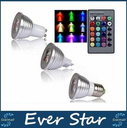 Descuento focos de colores Para la Navidad iluminación RGB LED Bombillas E27 E14 B22 GU10 MR16 3W llevó los proyectores de control remoto que cambian varios Color 24keys