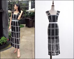 Wholesale High end custom alice McCALL Australia brand Plaid stitching patchwork hollow out lace halter dress