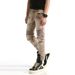 Wholesale Men s Balmain Classic Fit Straight Leg Jean Fashion Designer Denim Washed Distressed Ripped Skinny Biker Jeans Cotton Jeans