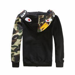 Wholesale Mens shark Hoodies lovers hoody Sweatshirts jacket Autumn and Winter Black Gray Fleece hoody Men Women fashion Shark Hoodie