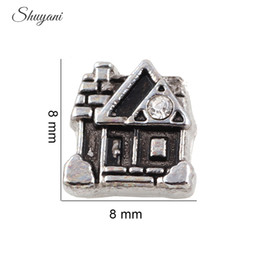 Plate-forme de locket de charme flottant mémoire vive en Ligne-Plaqué or Crystal House Castle Alliage charme flottant DIY Floating Locket Charm for Living Memory Glass Locket