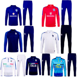 Wholesale 2016 Full Sleeve Winter England Sweater Tracksuit Jogging Italy France Soccer Jacket Football Suits Pogba Griezmann Sport Coat training