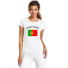FORTUGAL Women Fans Cheer T-Shirt Nationa Flag Printed European Cup Football Sports Fitness Gym T Shirts For Female Summer