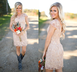 2017 Cheap Country Bridesmaid Dresses V Neck Full Lace Short Sleeves Champagne Sheath Wedding Guest Wear Party Dresses Maid of Honor Gowns