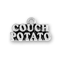 Wholesale 100pcs a zinc alloy antique silver plated couch potato text jewelry charms