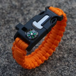39Colors 2016 New Paracord Bracelet Camping Flint Fire Starter Scraper Whistle Gear Survival Paracord Bracelet Rope Self-rescue Kit 5 in 1