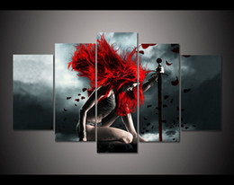 Wholesale Halloween Decor Abstract red hair gril paintings five panels beautiful women pictures for living room Decoration hot sale