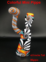 Wholesale New Mini Bubblers Colorful Glass Water Pipe inchs Tall g pic mm male joint Bong come with Bowl