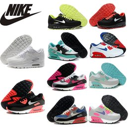 Discount Shoes Run Air Max NIKE AIR MAX 90 Mesh breathable running shoes fashion women sports airmax 90 leather training shoes for female,36-40