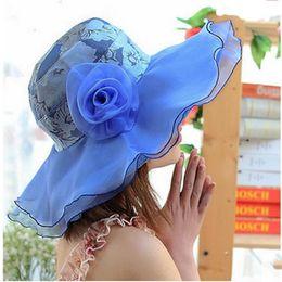Wholesale 2016 new fashion Anti UV Flowers designer hats Sandy beach summer hats for women Net Yarn Sunscreen church hats