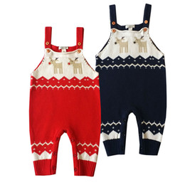 Wholesale Baby Rompers Overalls Jumpsuits New Winter Boys Girls Christmas Costume Kids Elk Pattern Cotton Knitted Bib Pants Y