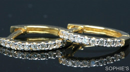 Wholesale Genuine Round Cut Diamond Hoop Earrings Pave Set In Solid K Yellow Gold
