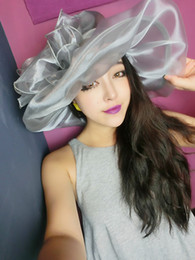 Wholesale 2016 New Fashion Korean Retro Flower Net Wedding Beach Sunscreen Sun Hats Wide Brim Hats Colors Hot Selling