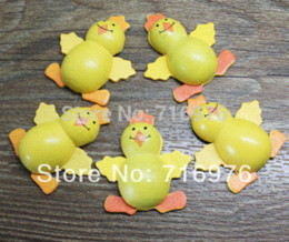 Wholesale Free Shipping 20pcs yellow Painted Wood chicken Craft Ornament for Scrapbooking 35mm*39mm (W02318) Buttons Cheap Buttons