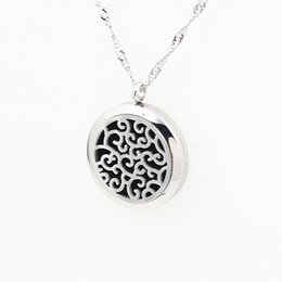 Wholesale Hollow Silver Aromatherapy Essential Oil Diffuser Necklace Locket Pendant L Stainless Steel Jewelry With mm Free Pads