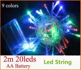 2017 luces de hadas blancas con pilas 2m 20 LED string 3XAA Batería MINI HADA LUZ BATERÍA potencia operado blanco / caliente blanco / azul / rojo / amarillo / verde / rosa / purply / multicolor descuento luces de hadas blancas con pilas