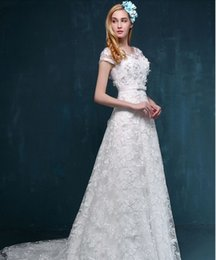 Wholesale Empire Wedding Dresses Online Simple Modest Bridal Wear Lace up Sweep Train Best Wedding Dresses Custom Made