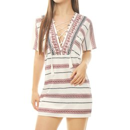 Wholesale Women s Casual Dresses Leaves Stripes Pattern Fringe Lace Up Tunic Dress White Chuvivi Unique Fashion Apparel