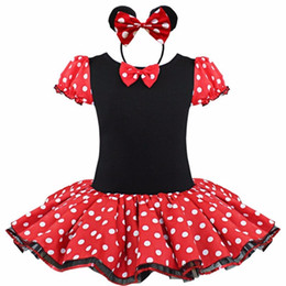 Wholesale 2016 Kids Gift Minnie Mouse Party Fancy Costume Cosplay Girls Ballet Tutu Dress Ear Headband Girls Polka Dot Dress Clothes Bow
