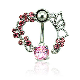 Brand New Belly Button Rings 316L Stainless Steel Barbells Pink Rhinestone Classic Navel Rings Body Piercing Jewelry