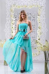 Wholesale Chiffon Strapless Short Prom Dresses - Strapless Ruffled Sexy High Low Pink Green Long Bridesmaid Dress 2016 Formal Prom Dresses Vestido de festa Custom Made