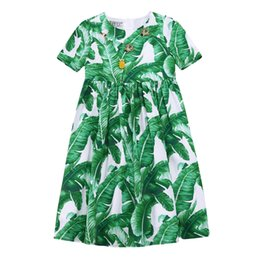 Wholesale Girl Dress Kids Clothes Mode Enfant Girls Dresses Summer Banana Leaf Print Children Dress Girl Clothes Cotton Kids Dress