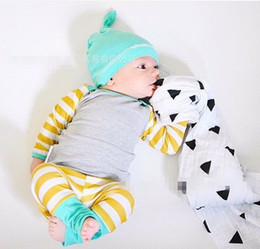 2016 Ins Newborn Baby Boy Girl Christmas Sets Striped Hat+Tops+PP Pants 3pcs Cotton Outfit Baby Autumn And Winter Ins Outfits