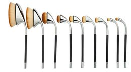 Wholesale 9pcs Golf clubs Shape Makeup Brush Gold silver Soft Oval Powder Foundation Brushes Cosmetic Kits Silver Rose Gold
