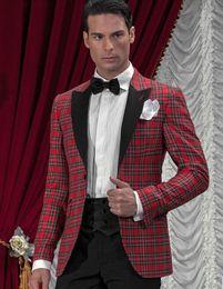 2016 New Designed Handsome brother style plaid tuxedo  wedding suit for men 3 peices set(bowtie+pants+jacket)