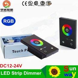 Купить Онлайн 24v диммер панель-TM08U DC 12-24В Настенный Сенсорная панель диммер Контроллер настенный выключатель Полноцветное RGB диммер для 3528 5050 RGB LED Газа Стандарт + США