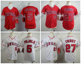 Wholesale 2016 Youth Los Angeles Angels Jersey Mike Trout Albert Pujols White Red Kid S M L XL