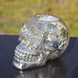 Wholesale Glass Candle Holder Glass Skull Candle Stick Holder Stand Home Table Pray Decor Silver Creative Groceries Glass Antique Silver Creative Gift