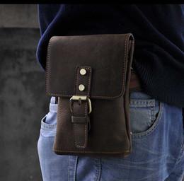 Wholesale KISSUN Factory Men Bag Crazy Horse Leather Waist Bag Small Shoulder Bag Cross Body Hiking Bag Fanny Bag Pure Leather Handmade Antique