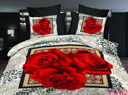New Arrrival Bedding Sets 3D Red Rose Printed Six Pieces Polyester Cotton Bedding Supplies With Three Kind Sizes Can Choose