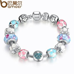 Wholesale Aliexpress Silver Heart Start Crystals quot LOVE quot Colorful Girl Murano Beads Bracelet for New Year Gift PA1871