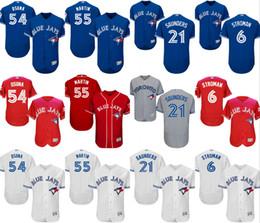 Wholesale 2016 Postseason Patch Toronto Blue Jays Stroman Russell Martin Roberto Osuna Saunders Jersey Mens Stitched Baseball Jersey