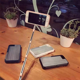Wholesale Handheld Selfie Stick Phone Case Retractable Aluminum Camera Self timer Cases with Bluetooth Remote Control Shell Cover for iPhone s plus