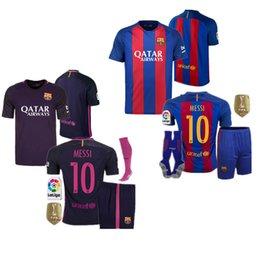 Wholesale 2016 Barcelona team jersey adults kit Home Away Jersey Camiseta Deneimaer JR Messi Suarez A Iniesta A Quality