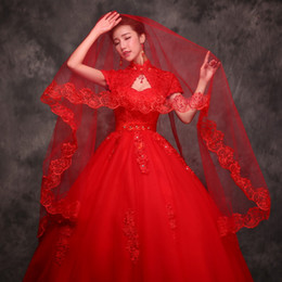 The new 2016 red applique lace bride married Veils cathedral 3m trailing Bridal Veils tiara plus size