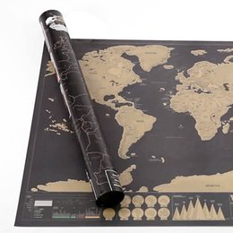 Wholesale 120pcs Deluxe Scratch Map Deluxe Scratch World Map x cm DHL Fedex Free