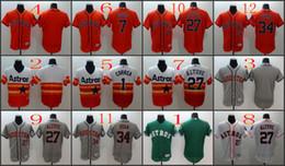 Wholesale 2016 Flexbase MLB Stitched Houston Astros Blank Correa Ryan Altuve Biggio White Orange Green Gray Baseball Jersey Mix Order