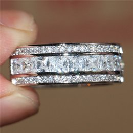 Wholesale Fashion Sterling Silver Ring White Sapphire Gem CZ Side Stone Band Elvis Presley s Aloha Concert Ring For Women Cocktail